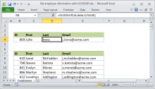 Excel formula: Get employee information with VLOOKUP