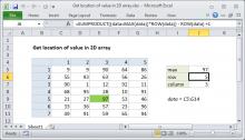 Excel formula: Get location of value in 2D array