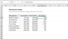 Excel formula: Get percent change
