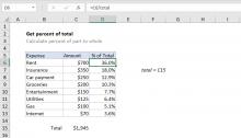 Excel formula: Get percentage of total