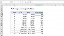 Excel formula: Get profit margin percentage