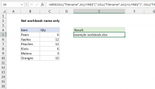 Excel formula: Get workbook name only