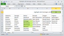 Excel formula: Highlight cells that begin with