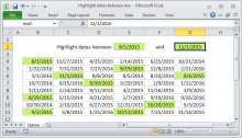 Excel formula: Highlight dates between