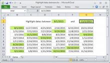 Excel formula: Highlight dates between