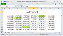 Excel formula: Highlight dates in same month and year