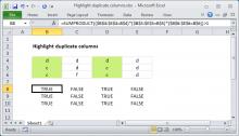 Excel formula: Highlight duplicate columns