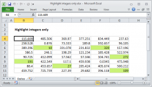 Excel formula: Highlight integers only