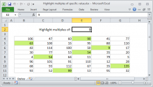 Excel formula: Highlight multiples of specific value