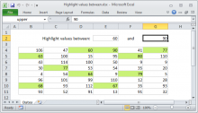Excel formula: Highlight values between