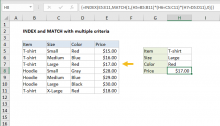 Excel formula: INDEX and MATCH with multiple criteria