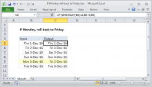 Excel formula: If Monday, roll back to Friday