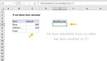 Excel formula: Only calculate if not blank