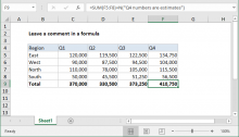 Excel formula: Leave a comment in a formula