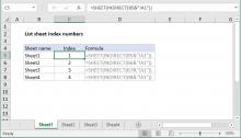 Excel formula: List sheet index numbers