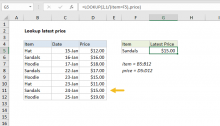 Excel formula: Lookup latest price