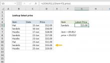 Excel formula: Lookup latest price