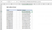 Excel formula: MAC address format
