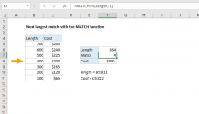 Excel formula: Next largest match with the MATCH function