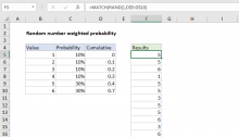 Excel formula: Random number weighted probability