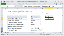 Excel formula: Range contains one of many substrings