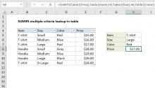 Excel formula: SUMIFS multiple criteria lookup in table