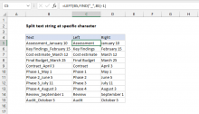 Excel formula: Split text string at specific character