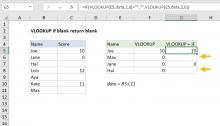 Excel formula: VLOOKUP if blank return blank