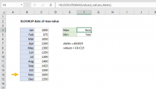 Excel formula: XLOOKUP date of max value