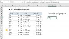 Excel formula: XLOOKUP with logical criteria