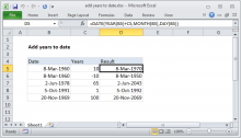 Excel formula: Add years to date