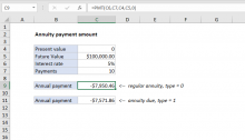 Excel formula: Payment for annuity