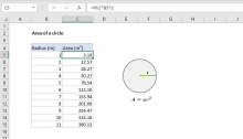 Excel formula: Area of a circle