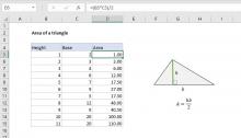 Excel formula: Area of a triangle