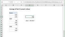 Excel formula: Average the last 3 numeric values