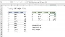 Excel formula: Average with multiple criteria