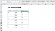 Excel formula: Basic outline numbering