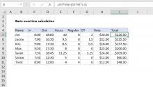 Excel formula: Basic overtime calculation formula