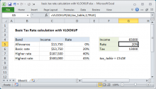 Excel formula: Basic Tax Rate calculation with VLOOKUP