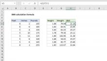 Excel formula: BMI calculation formula