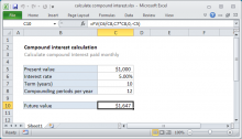 Excel formula: Calculate compound interest