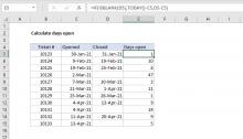 Excel formula: Calculate days open