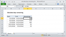 Excel formula: Calculate days remaining