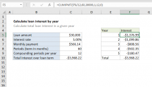 Excel formula: Calculate loan interest in given year