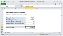 Excel formula: Calculate original loan amount