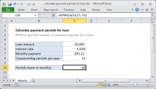 Excel formula: Calculate payment periods for loan