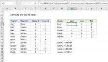 Excel formula: Calculate win loss tie totals