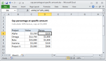 Excel formula: Cap percentage at specific amount