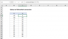 Excel formula: Celsius to Fahrenheit conversion