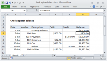 Excel formula: Check register balance